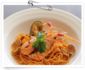 手長海老と海の幸たっぷりのスパゲティ